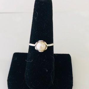 Pandora pearl ring 925 silver ALE. White pearl.